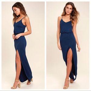 NWT Watch The Sunset Navy Blue Maxi Dress